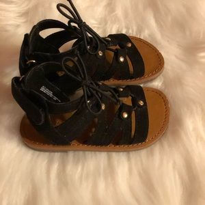 Children's Place Shoes - Toddler Girl Black Suede Gladiator Sandal